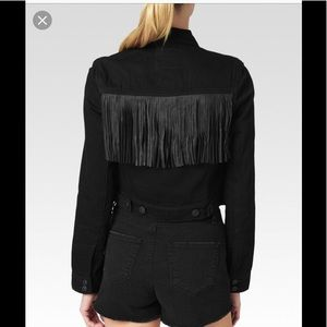 Paige Cecily Leather Fringed denim jacket